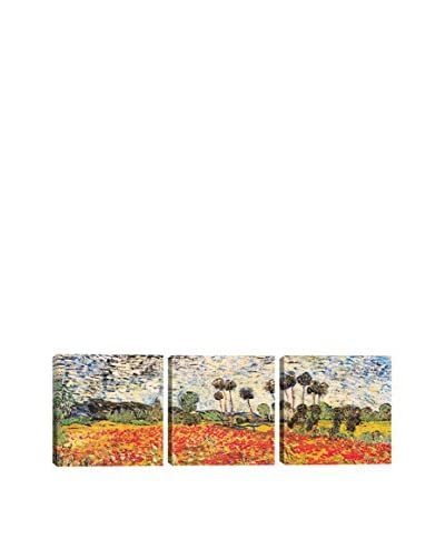 Vincent Van Gogh Field Of Poppies (Panoramic) 3-Piece Canvas Print