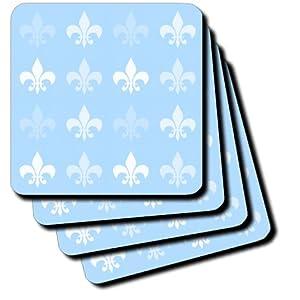 cst_56317_3 PS Creations - White and Pale Blue Fleur de lis - French Art - Coasters - set of 4 Ceramic Tile Coasters