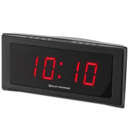 electrohome 1 8 inch jumbo led alarm clock radio with battery backup auto time set digital am fm. Black Bedroom Furniture Sets. Home Design Ideas