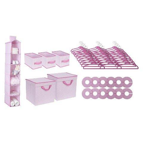 Delta Children 48 Piece Nursery Storage Set, Pink image