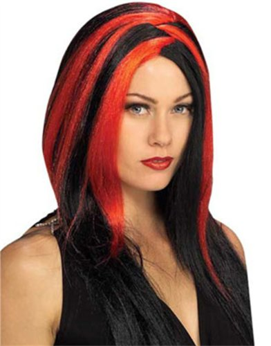 Womens Sexy Vampire Costume Black and Red Stripe Wig
