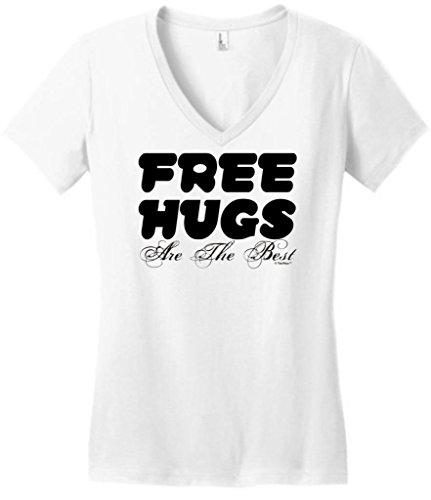 Free Hugs Are The Best Juniors V-Neck Large White