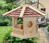 Vogelhaus-Vogelhäuser--sechs eck Braun-Vogelfutterhaus Vogelhäuschen-aus Holz- Blitzversand!!!DHL Schreinerarbeit