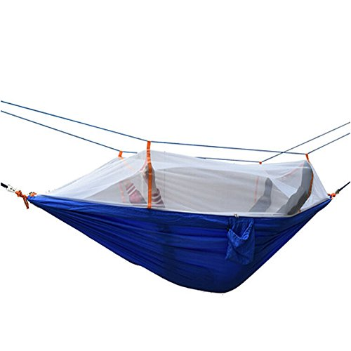 Ezyoutdoor 98x53 inch Lightweight Double Hammock With Mosquito Net Nylon Fabric Parachute Bed for Camping Hiking Hunting Backpacking Travel (Blue) (Blue Ridge Hot Tub Filters compare prices)