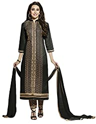 Sree Impex Women Heavy Cotton Semi Stitched Dress Material (SI-SK-49_Blak_Free Size)