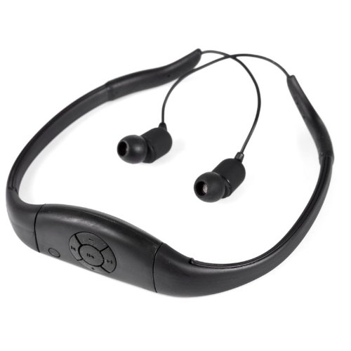 Tayogo Waterproof Neckband Mp3 Player And Headphones For Swimming, Water Sports,Surfing, Biking, Boating, With Removable Usb Flash-Black