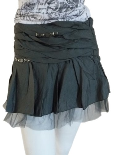 Petal Pleated Skirt with Mesh Lace Underlay & Stone Embellished