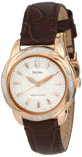 BULOVA PRECISIONIST BRIGHTWATER DIAMOND 98R152 LADIES PINK LEATHER WATCH