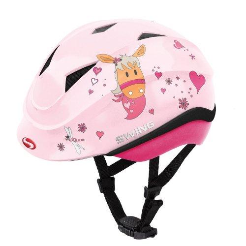 Swing Reithelm K4 rosa glanz mit Pferd
