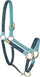 Red Haute Horse LTL1203A High Fashion Horse Horse Halter, Leopard Teal