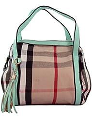 KARP Women's Vintage Casual Stylish Cream Striped With Cyan Belt Multi Compartment Large Capacity Shoulder Handbag...