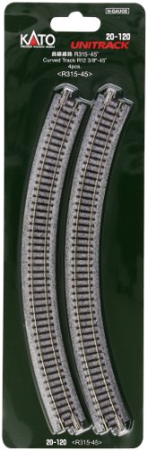 "Kato USA Model Train Products Unitrack, 315mm (12 3/8"") Radius 45-Degree Curve Track (4-Piece)"