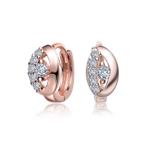 Simply Pretty Sterling 925 Silver Huggie Earrings Rose Plated with Round CZ Diamonds Accent - Incl. ClassicDiamondHouse Free Gift Box & Cleaning Cloth