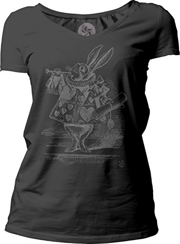 Big Texas Alice in Wonderland - The White Rabbit Herald (Grey) Women's Short-Sleeve V-Neck T-Shirt