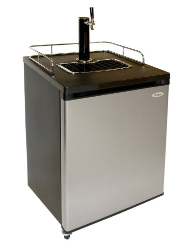 Vinotemp VT-FULLKEG Full Keg Beer Dispenser with Empty CO2 Tank and Gauge, Silver/Black