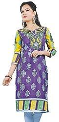 Women's Cotton printed Kurti, purple, unstitched cloth material (kurti)