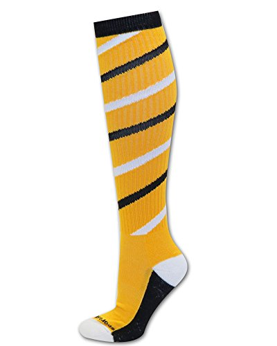 Twister Socks Athletic Gold/Black/White M/L (Black And Yellow Striped Nylon Stockings)