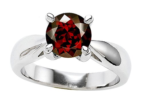 Original Star K(tm) Genuine 7mm Round Garnet Engagement Ring in .925 Sterling Silver Size 6