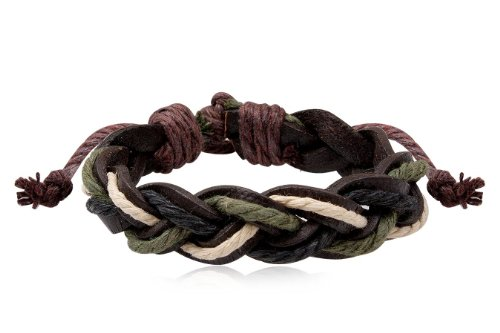 Fashion Weave Multicolour Leather Wrap Cuff Bracelet Bangle Men's Jewelry