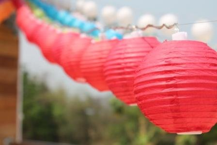 New Solar Powered 20 Led Red Mini Round Paper Chinese Lantern Fairy Light String