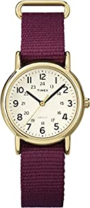 Timex Women's Quartz Watch with Beige Dial Analogue Display and Red Nylon Strap T2P474