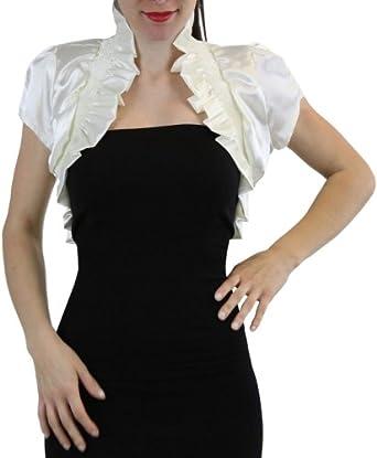 ToBeInStyle Women's Pull Over Shiny Ruffled Bolero Short Sleeve Jacket - Ivory - M