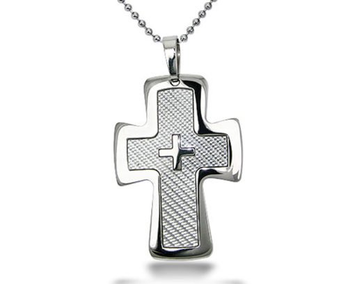 Personalized ** Free Engraving ** Stainless Steel Cross Pendant With Carbon Fiber Inlay