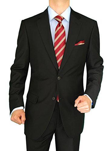 Gino Valentino 2 Piece Men's Side Vents Jacket Flat Front Pants 2 Button Suit