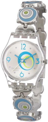 Swatch Ladies Check Pea Silver Dial Stainless Steel Bracelet Watch