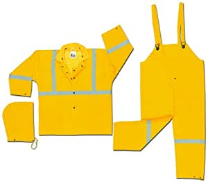 MCR Safety 2403RX3 Luminator PVC/Polyester 3-Piece Corduroy Collar Suit with Detachable Hood and Reflective Material Tape, Yellow, 3X-Large