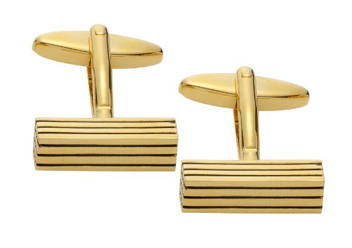 Code Red Gold Plated Rectangular Cufflinks with Black Enamel Stripes
