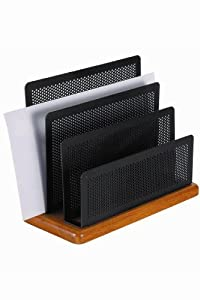 Rolodex Punched Metal and Wood Mini Desk Sorter, Black and Cherry (Q22731)