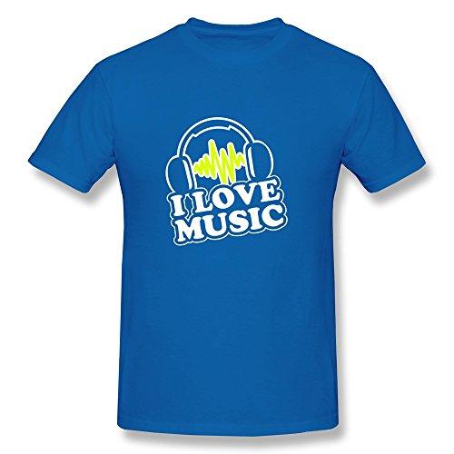 Men Love Music Eco-Friendly Cotton T-Shirt Size L Color Royalblue