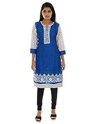 ND Women's Cotton Regular Fit Kurta(ND_25, Dark Blue, L )