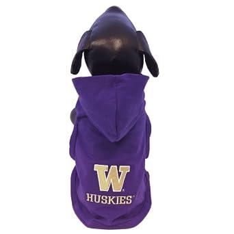 NCAA Washington Huskies Cotton Lycra Hooded Dog Shirt, Medium