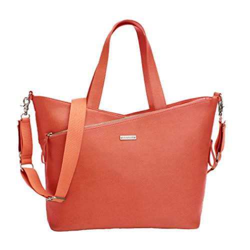Storksak Lucinda Tote Diaper Bag - Sunset Orange Textured Leather - 1