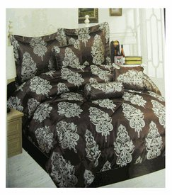 Luxurious Jeanette 7pcs Bedding Set - Queen Size Bed In A Bag (Dark Chocolate)
