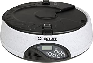 Crestuff 6 Meal Automatic Electronic Dog and Cat Pet Feeder with LCD Screen and Meal Time Message Recorder