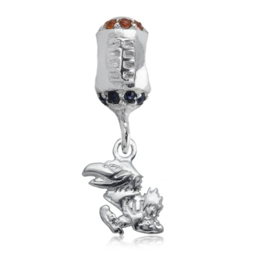 NCAA Kansas Jayhawks .925 Sterling Silver Football Charm Bead, Kansas Jewelry
