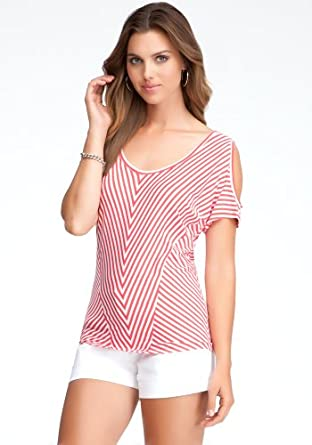 bebe Striped Cold Shoulder Knit Top Knit Tops White/hot Coral-xxs at