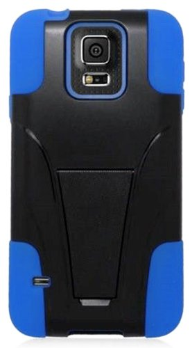 Mylife (Tm) Bright Blue And Deep Coal Black - Neo Hybrid Series (Built In Kickstand) 2 Piece + 2 Layer Case For New Galaxy S5 (5G) Smartphone By Samsung (External Hard Fit Armor With Built In Kick Stand + Internal Soft Silicone Rubberized Flex Gel Bumper