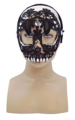 Sugar Skull Black Face Eye Mask Halloween Costume Fancy Dress Outfit
