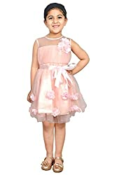 StyleMyKidz Girl Regular Fit Dress (peachy pink, 5-6 Years)