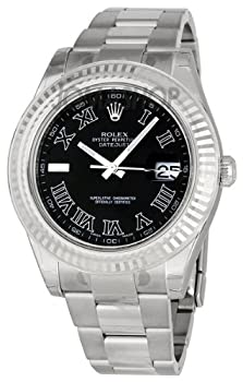 Rolex Datejust II Black Roman Dial Fluted 18k White Gold Bezel Two Tone Oyster Bracelet Mens Watch 116334BKRO from designer Rolex
