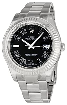 Rolex Datejust Ii Black Roman Dial Fluted 18k White Gold Bezel Two Tone Oyster Bracelet Mens Watch 116334bkro by Rolex
