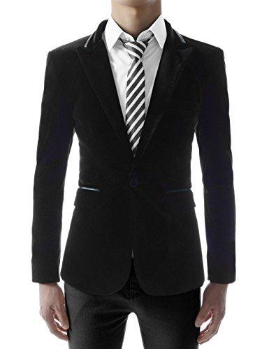 (JKV01) Mens Slim Fit Single Breasted Peaked Lapel 1 Button Velvet Blazer BLACK US M(Tag size 2XL)