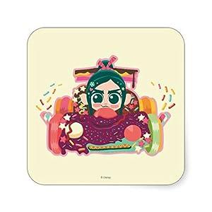 .com: Vanellope Von Schweetz Driving Car Square Sticker: Toys & Games