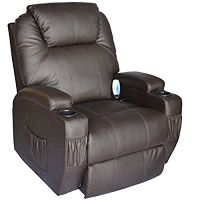 Deluxe Heated Vibrating Pu Leather Massage Recliner Chair - Black