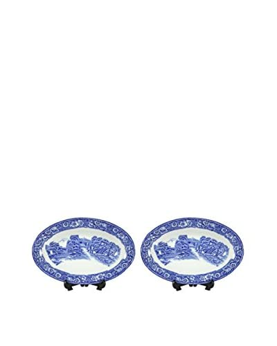 Pair of Rural England Blue Bone Dishes, Blue/White