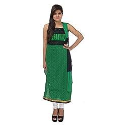 Kashish Creations Women Zari Black & Green Semi Stitched Salwar Suit